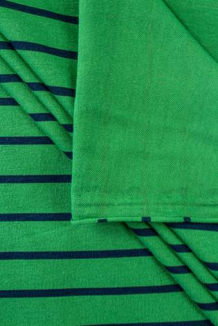 Dzianina jersey zielony w granatowe paski - 175cm 190g/m2 thumbnail