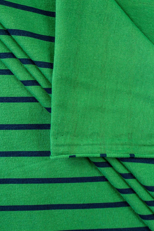 Dzianina jersey zielony w granatowe paski - 175cm 190g/m2