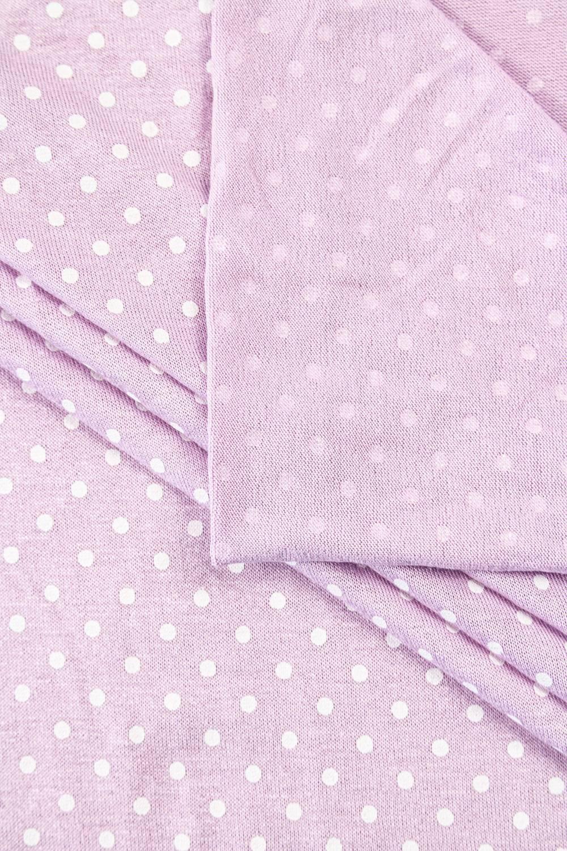 Knit - Viscose Jersey - Polka Dots On Lavender Colour - 185 cm - 180 g/m2