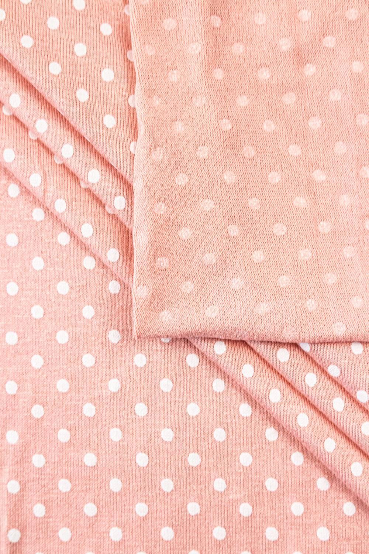 Knit - Viscose Jersey - Polka Dots On Salmon Pink Colour - 185 cm - 180 g/m2