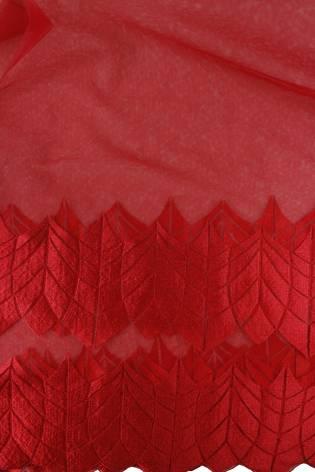 Tkanina koronka czerwona KUPON 1,5 MB - 135 cm - 90 g thumbnail