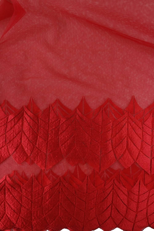 Tkanina koronka czerwona KUPON 1,5 MB - 135 cm - 90 g