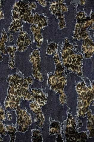 Tkanina jeans z podszyciem panterka KUPON 1,5 MB - 145 cm - 260 g thumbnail