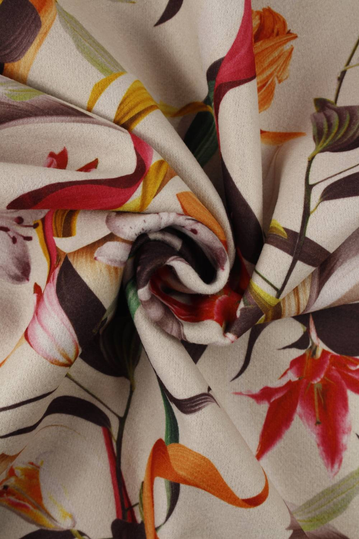 Flausz beżowy kolorowe kwiaty KUPON 1,5 MB - 150 cm - 400 g