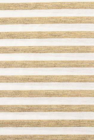 Dzianina jersey w paski biało-złote z efektem brokatu - 150cm 130g/m2 thumbnail