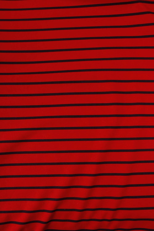 Dzianina jersey czerwony w granatowe paski KUPON 1,5 MB - 180 cm - 200 g