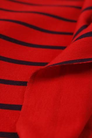Dzianina jersey czerwony w granatowe paski KUPON 1,5 MB - 180 cm - 200 g thumbnail