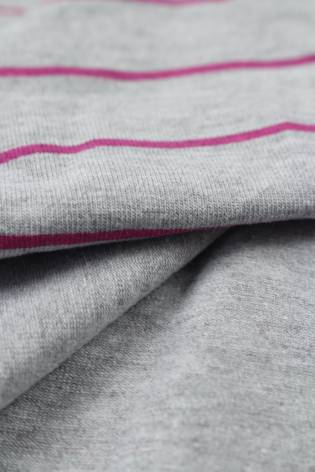 Dzianina jersey szary melanż w różowe paski KUPON 1,5 MB - 180 cm - 200 g thumbnail