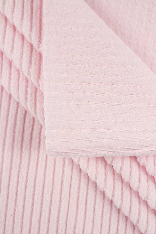 Dzianina polarowa prążek pudrowy róż - 165cm 240g/m2