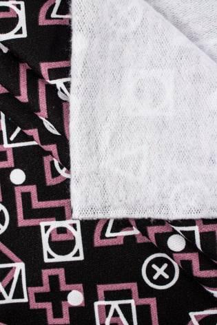 Dresówka drapana czarna w trójkąty i kwadraty - 170cm 250g/m2 thumbnail