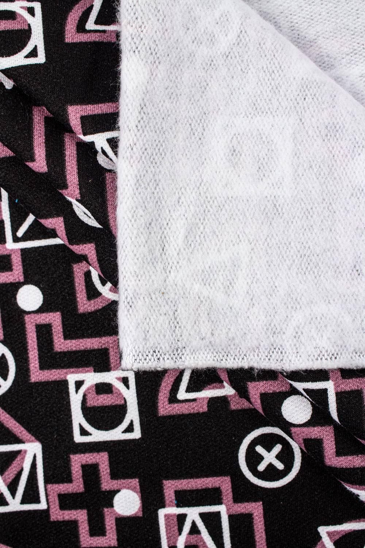 Dresówka drapana czarna w trójkąty i kwadraty - 170cm 250g/m2
