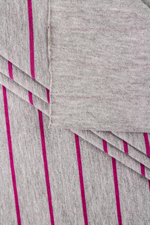 Dzianina jersey bawełniany w różowe paski - 180cm  200g/m2