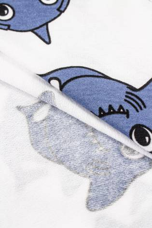 Dzianina jersey biały w rekiny - 175cm 170g/m2 thumbnail