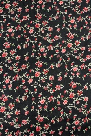 Dzianina poliestrowa szczotkowana/welurowa w delikatne kwiaty - 160cm 170g/m2 thumbnail