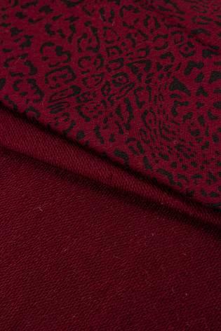 Dzianina dresowa pętelka bordowa w panterkę - 180cm 260g/m2 thumbnail