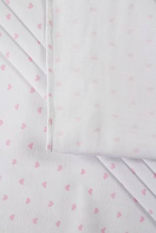 Dzianina jersey biały w drobne serduszka - 175cm 200g/m2 thumbnail