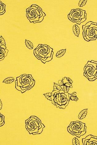 Dzianina dresowa pętelka żółta w róże - 180cm 250g/m2 thumbnail