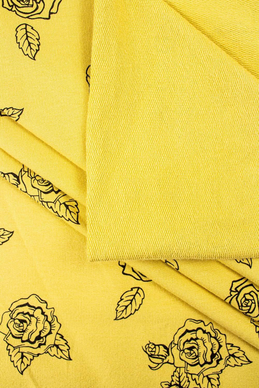 Dzianina dresowa pętelka żółta w róże - 180cm 250g/m2