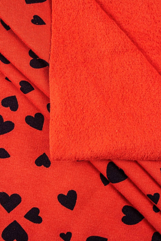 Dzianina dresowa drapana - czerwona w granatowe serca - 170cm 320g/m2