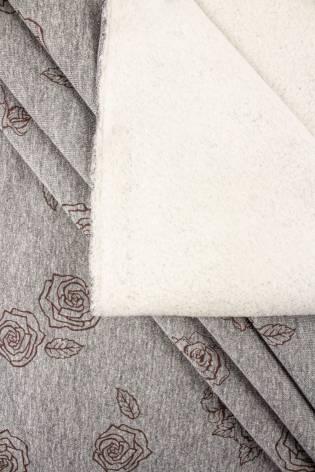 Dzianina dresowa drapana - szary melanż z nadrukiem różyczek - 170cm 310g/m2 thumbnail