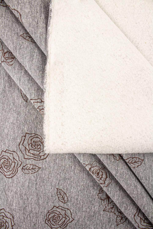 Dzianina dresowa drapana - szary melanż z nadrukiem różyczek - 170cm 310g/m2