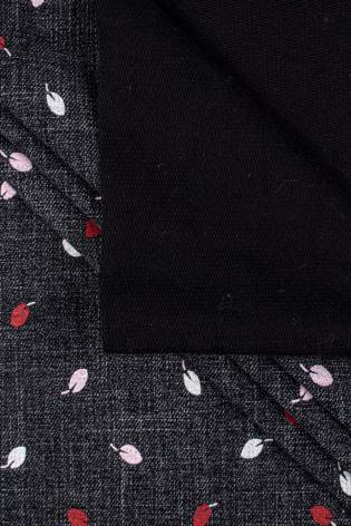 Dzianina dresowa pętelka czarny melanż w listki - 170cm 300g/m2 thumbnail