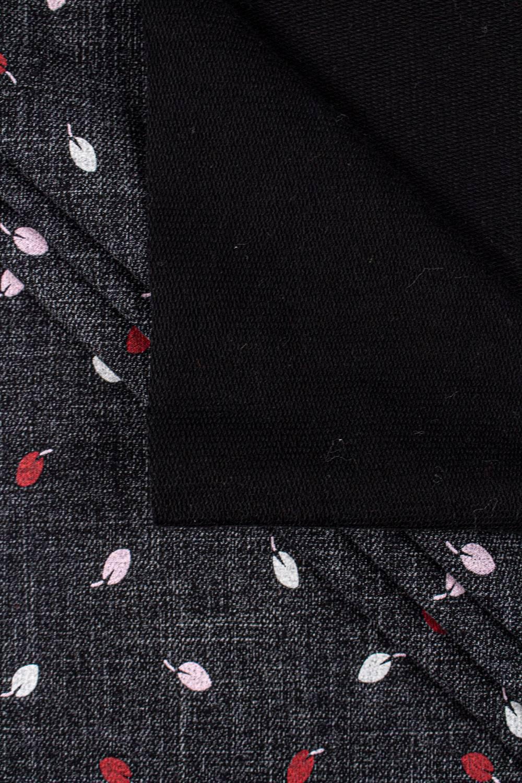 Dzianina dresowa pętelka czarny melanż w listki - 170cm 300g/m2
