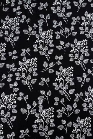 Dzianina jersey bawełniany czarny w listki/gałązki 160cm 140g/m2 thumbnail