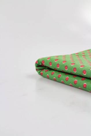 Tkanina bawełniana zielona w czerwone groszki - 150cm 240g/m2 thumbnail