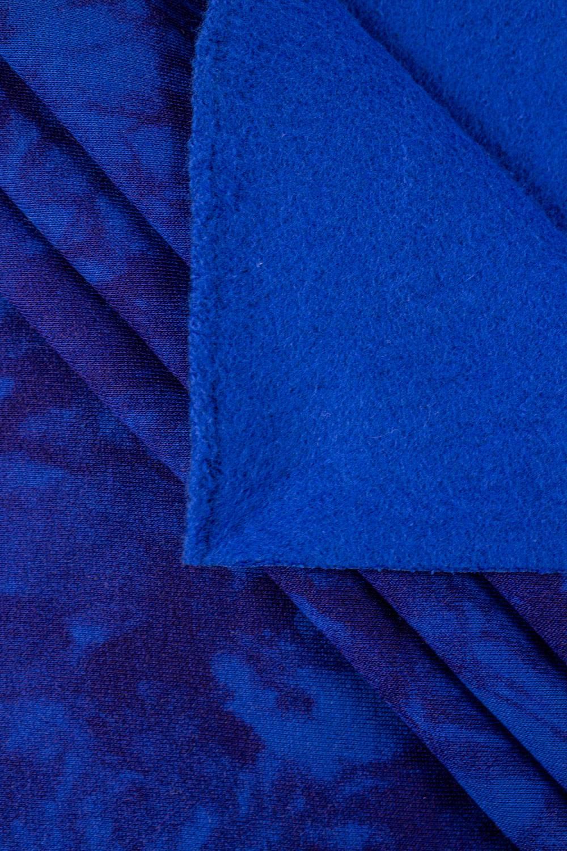 Dzianina dresowa drapana niebieska w granatowy tie dye - 160cm 310g/m2