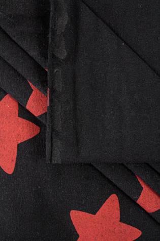 Dzianina jersey bawełniany czarny w czerwone gwiazdy - 180cm  200g/m2 thumbnail