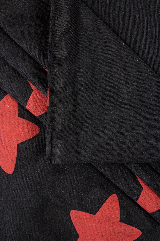 Dzianina jersey bawełniany czarny w czerwone gwiazdy - 180cm  200g/m2