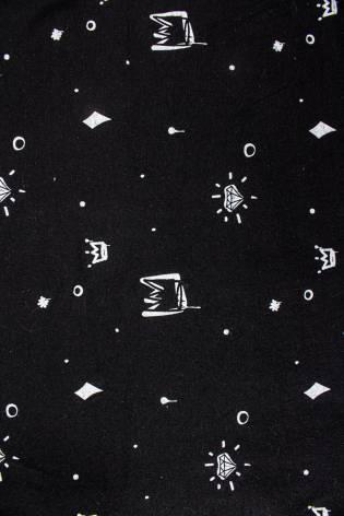 Dzianina jersey bawełniany czarny w białe korony - 160cm  130g/m2 thumbnail