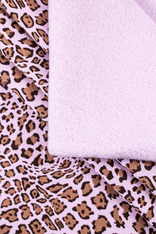 Dzianina dresowa drapana fioletowa w panterkę - 170cm 380g/m2