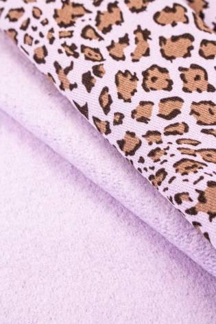 Dzianina dresowa drapana fioletowa w panterkę - 170cm 380g/m2 thumbnail