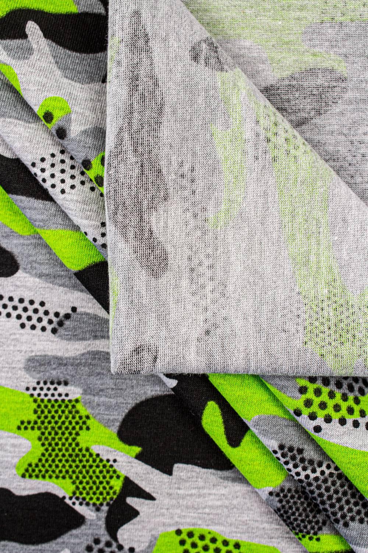 Dzianina jersey szary melanż - zielono-czarne moro - 170cm 160g/m2