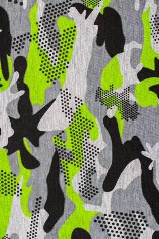 Dzianina jersey szary melanż - zielono-czarne moro - 170cm 160g/m2 thumbnail