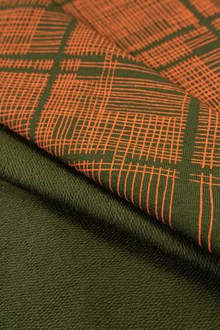 Dzianina dresowa pętelka khaki w pomarańczową kratę - 180cm 260g/m2 thumbnail