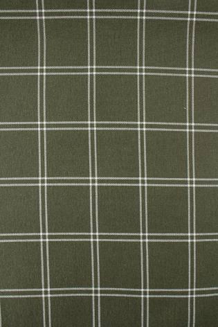 Dzianina dresowa pętelka khaki w białą kratę - 160cm 340g/m2 thumbnail