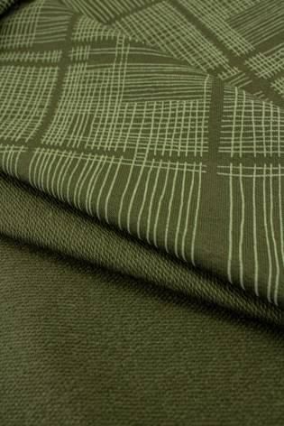 Dzianina dresowa pętelka khaki w oliwkową kratę - 180cm 260g/m2 thumbnail