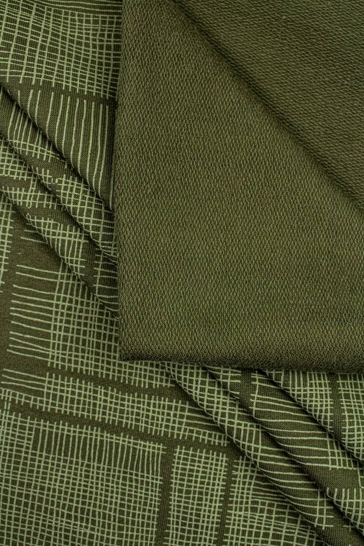 Dzianina dresowa pętelka khaki w oliwkową kratę - 180cm 260g/m2