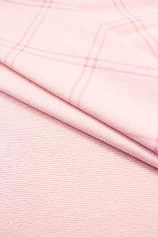 Dzianina dresowa pętelka różowa w  kratę - 185cm 230g/m2 thumbnail