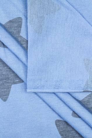 Dzianina jersey błękitny w szare gwiazdy - 170cm 140g/m2 thumbnail