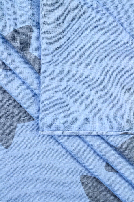 Dzianina jersey błękitny w szare gwiazdy - 170cm 140g/m2