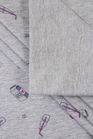 Dzianina jersey szary melanż z nadrukiem - juice - 180cm 220g/m2 thumbnail