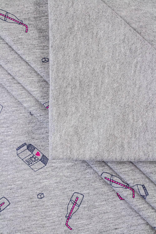 Dzianina jersey szary melanż z nadrukiem - juice - 180cm 220g/m2