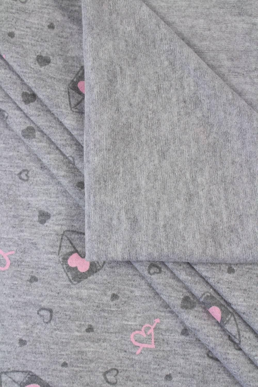 Dzianina jersey szary melanż z nadrukiem - serduszka/listy - 180cm 190g/m2