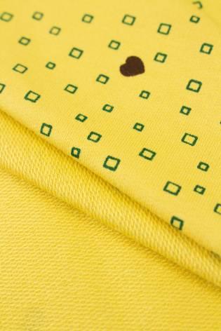 Dzianina dresowa pętelka żółta z nadrukiem serduszka/kwadraciki - 180cm 240g/m2 thumbnail