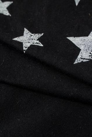 Dzianina jersey czarny w białe gwiazdki - 170cm 150g/m2 thumbnail