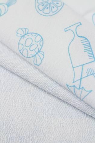 Dzianina dresowa pętelka biała z nadrukiem - candy - 160cm 230g/m2 thumbnail